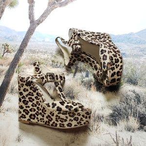 INC Leopard  Darma Wedges Heels